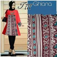 Dress Muslim TUNIK KOMBI BATIK Red Hijab 0146 Gamis Brokat Terbaru