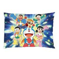 Sarung Bantal custom Doraemon #1 45x65 cm gambar 2 sisi