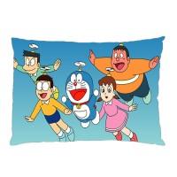 Sarung Bantal custom Doraemon #2 45x65 cm gambar 2 sisi