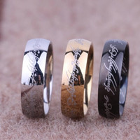 Cincin Lord Of The Ring Hitam, Emas, Silver