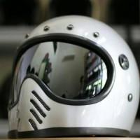 Helm Moto 3 List Hitam (inner Visor) - Silver