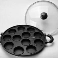 Jual cetakan Kue Lumpur Dorayaki Pancake SNACKMAKER TEFLON 12 Lubang Bulat Murah