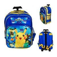 Jual Tas sekolah troli anak SD trolley roda dorong ransel Pokemon Go Murah