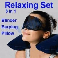Travel Pillow Set Bantal Leher Tiup Penutup Mata Telinga Pesawat