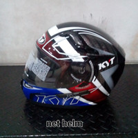 helm kyt k2 rider spotlight black / blue double visor