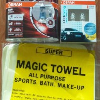 Promo paket Osram H4 NBR Laser & Led T10 12V 1W cool white free kanebo