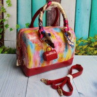 TAS BRANDED FURLA SPEEDY FLOWER JELLY WITH CANDY+SCARF+GEMBOG RED