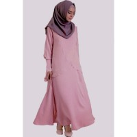 Jfashion Gamis Fashion Pinky Style Double Layer - Pink Murah