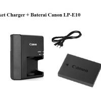 Paket Charger + Baterai LP-E10 Canon EOS 1100D, 1200D, Kiss X50, X70