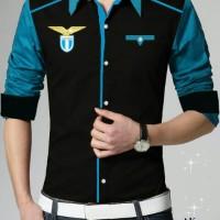 Kemeja bola Lazio - Black Grey+bordir logo model slim Oscar fashion