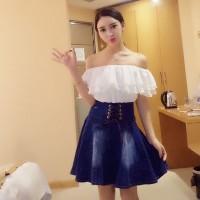 Jual KLW - Cute Sexy Dress Sabrina Putih Mix Denim Jeans biru gelap, terang Murah