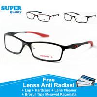 Frame Kacamata Pria Sport Titanium Minus Baca Anti Radiasi Kaca Mata