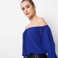harga Duapola Sabrina Bell Sleeves Crop Top Biru (7265) Tokopedia.com