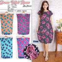 Beli 1 gratis 5 Dress Midi baju casual motif ROSES trendy (5 Warna)