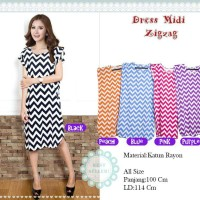 Beli 1 gratis 5 Dress Midi baju casual motif trendy ZIGZAG (5 Warna)