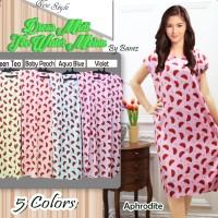 Beli 1 gratis 5 Dress Midi baju casual motif WATERMELON (5 Warna)