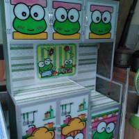 Rak Piring MC Gambar Motif Keropi/Doraemon/Hello Kitty 3 Pintu