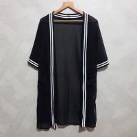 Black Long Outerwear Baju Atasan Wanita Hitam Import Butik Korea