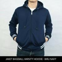 Jual jaket polos baseball Varsity Hoodie biru Navy Murah