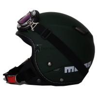 Helm Retro Pilot Klasik JPN Momo Vintage Hijau Army Doff Goggle Chrome