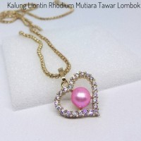 Liontin Mutiara Air Tawar Super Asli Lombok dan Kalung Bahan Rhodium