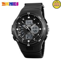 SKMEI jam tangan pria dual time Sport LED AD1198 Black White terlaris