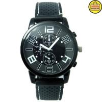 Jam tangan Pria Fashion Men Sport Watch Silicone Strap Black.