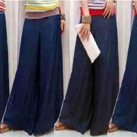celana kulot panjang trendy jeans navy