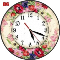 Jam Dinding Elegant Bahan MDF Hiasan Motif Bunga Suasana Flora