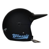 Helm Bogo JPN Vespa Classic Biru Dasaran Hitam Doff + Pet Panjang