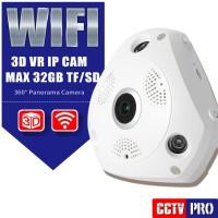 Jual IP Camera CCTV Wifi Fish Eye 360 Degree VR Cam 3D Panoramic+ ADAPTOR Murah