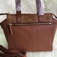 tas fossil tessa tesa satchel brown bag original