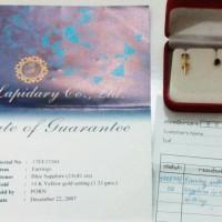 Jual Batu safir biru thailand dengan anting emas 14k Murah