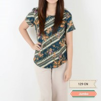 Batik Fashion Wanita - Jumbo Cenna short top (Teal)