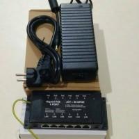 Poe Gigabit 6Port & Adaptor 24v 5a High Quality untuk Mikrotik / Ubnt