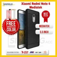Jual PAKET Case Xiaomi Redmi Note 4 Mediatek IPAKY Carbon Casing Cover Soft Murah