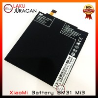Baterai XiaoMi Mi3 BM31 Original (handphone, Batre, Battery, OEM)