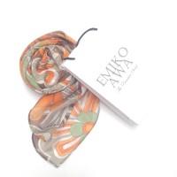 Kerudung Segiempat Motif Orange flower Retro / Hijab / Jilbab / Squa