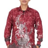 Jual Kemeja batik pria lengan panjang semi sutra furing KPJ200 Murah