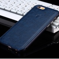 Casing HP Unik Premium Leather Case Navy Iphone 7 7 plus 6 6 plus 5