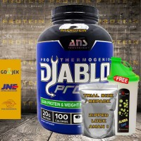 ANS DIABLO PROTEIN 2 Lbs WHEY + FAT BURNER ECER FREE SHAKER + BUBBLE