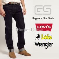 Celana Jeans Pria Regular - Blue Black - hitam garment - Levis - Lois