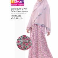 Gamis Muslimah Nibras Syar'i NS 09 Katun Jepang Pink