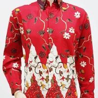 Kemeja Hem Baju Seragam Pria Batik Lengan Panjang 1937 Merah