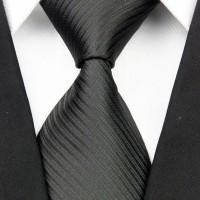 Jual Dasi Panjang Pria Motif Salur Hitam / Black - Lebar 3 inch ( 7 - 8cm) Murah