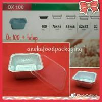 Cup/wadah aluminium foil kotak bujursangkar Ox 100 + tutup