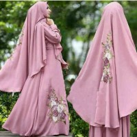 [Syari Fatma D Pink SW] gamis wanita jersey dusty pink