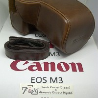 Leather Case For Canon EOS M3 15-45mm Coffee High Grade Free Strap.