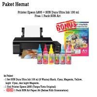 Printer Epson L805 Wifi New + Infus Tinta SUN DURA ULTRA ART PAPER INK