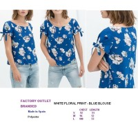 WHITE FLORAL PRINT - BLUE BLOUSE. Made in Spain - FASHIONme FO BRANDED